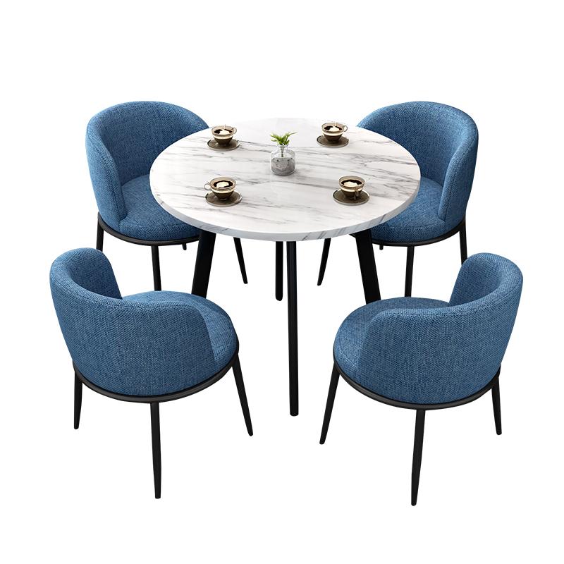 北欧轻奢铁艺接待洽谈桌椅组合小圆桌售楼部休息区办公室休闲桌椅