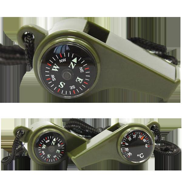 三合一指南针救生哨温度计户外多功能求生口哨子便携高频哨带挂绳