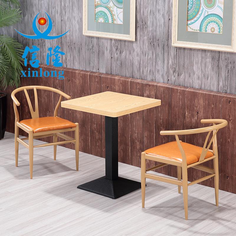 铁艺仿实木椅简约咖啡西餐厅奶茶甜品小吃店双人卡座沙发桌椅组合