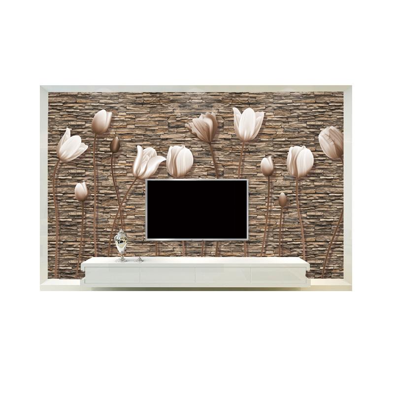 电视背景墙壁纸客厅5d立体壁画影视墙沙发墙纸无缝墙布欧式郁金香