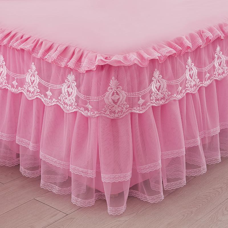 韩版公主蕾丝床裙单件床罩婚庆防滑花边床笠床套床垫保护套
