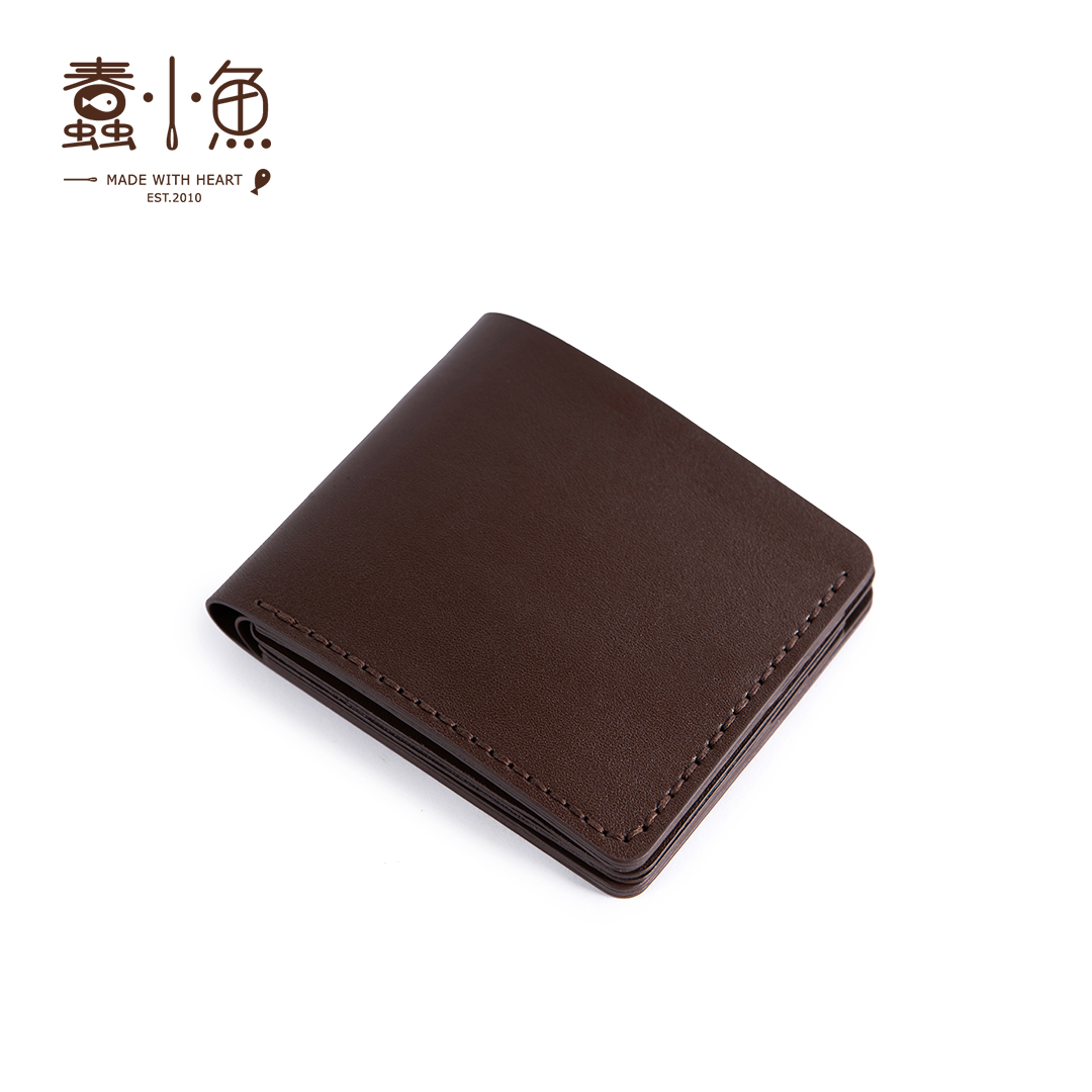 蠢小鱼男士父亲节牛皮夹钱包,100元左右手工送男士礼物