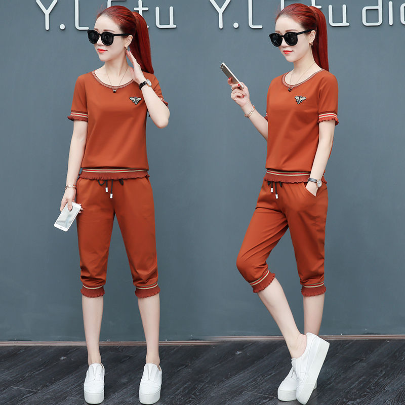 20夏季新款休闲套装女韩版宽松短袖七分裤时尚跑步运动服两件套潮
