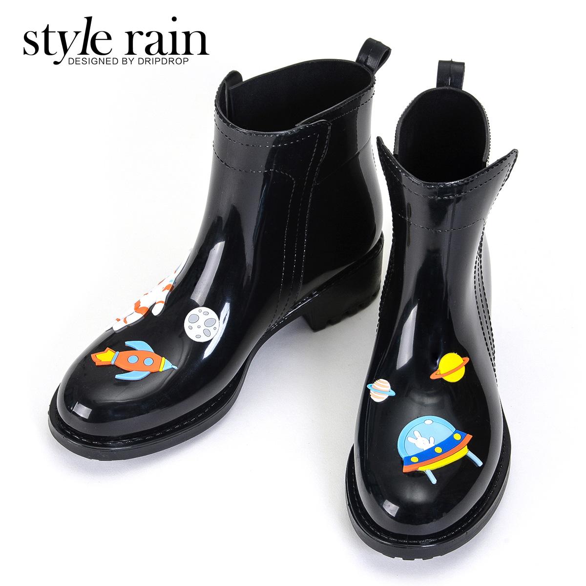 時代林2016時尚手繪風女式低筒雨靴水靴水鞋膠鞋韓版雨鞋女