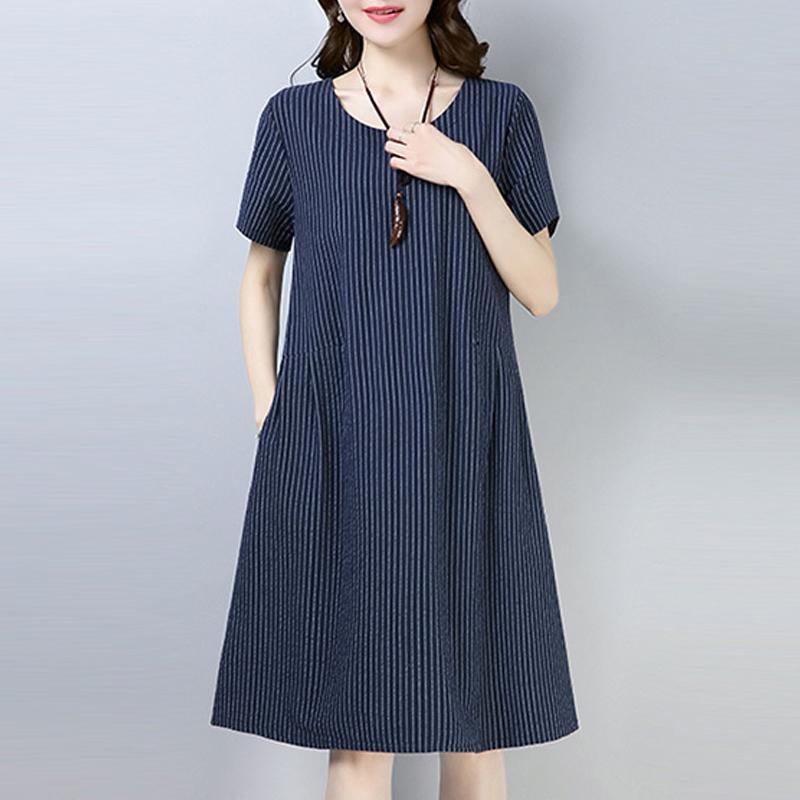 2021新款夏季棉麻连衣裙女复古直筒宽松棉绸中长款休闲亚麻裙子女