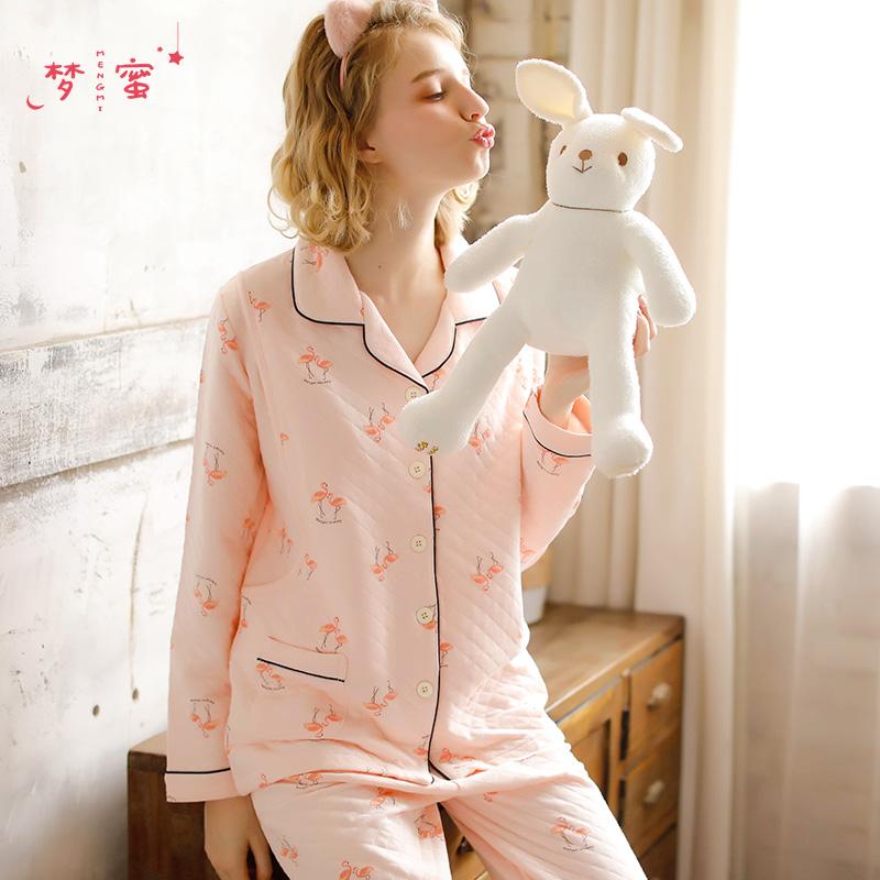 梦蜜 秋冬女月子服里纯棉孕妇睡衣春秋产后哺乳期产妇喂奶衣套装