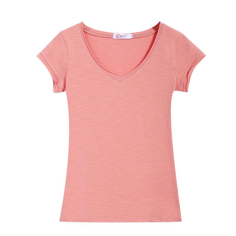 歌倍尚2019夏装新款短袖V领T恤女纯色鸡心领上衣竹节棉修身体恤