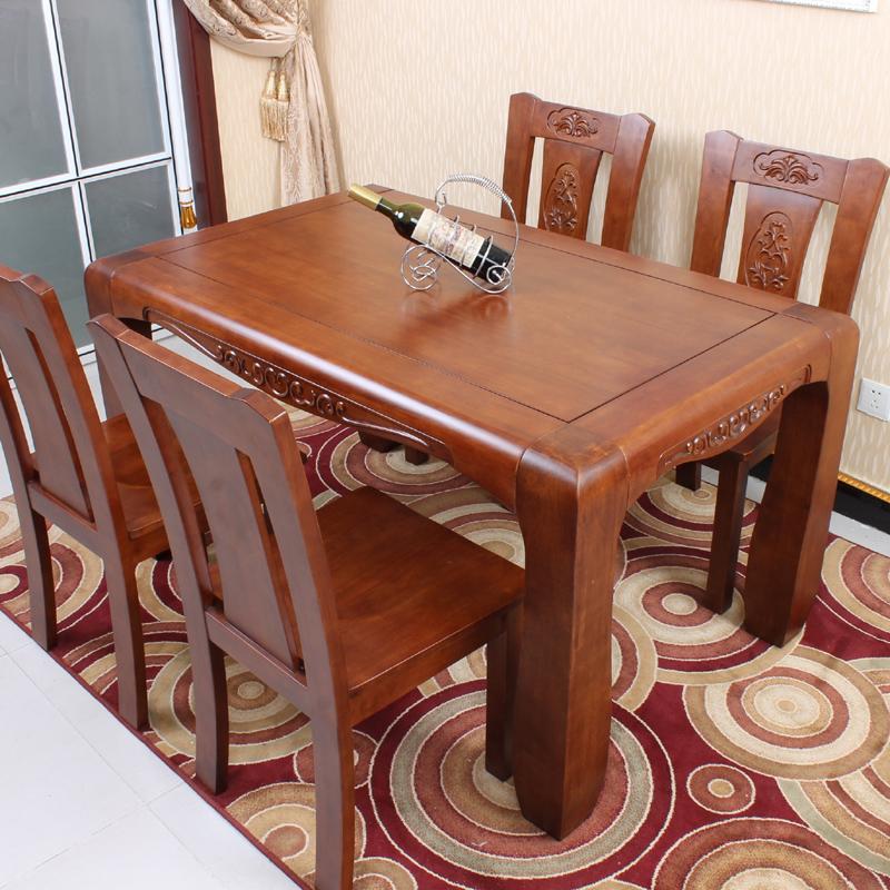 美式餐桌椅古典橡木餐桌全实木餐桌椅组合1.4米长方形餐桌6人饭桌