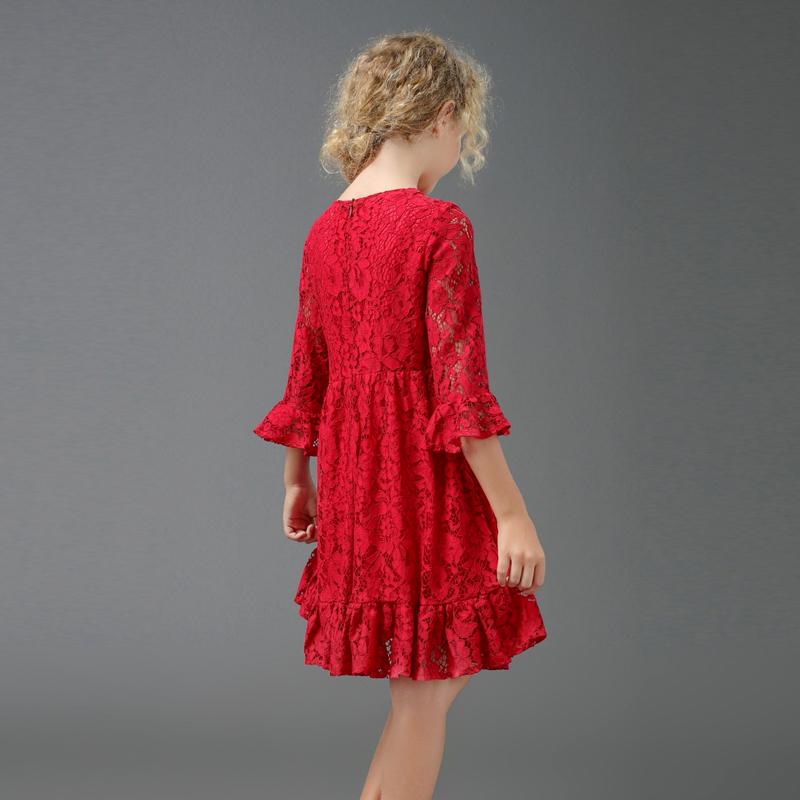 2019春欧洲站奢华亲子装母女装女童红色蕾丝连衣裙儿童公主裙礼服