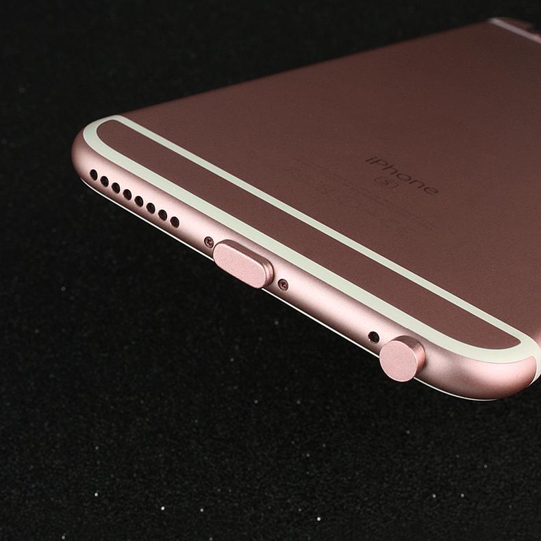 苹果6sPlus通用手机防尘塞8P金属iPhone7电源塞耳机塞X充电口配件