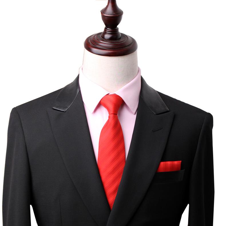 领带男韩版窄款新郎结婚婚礼懒人红色粉易一拉得7cm拉链式免打结