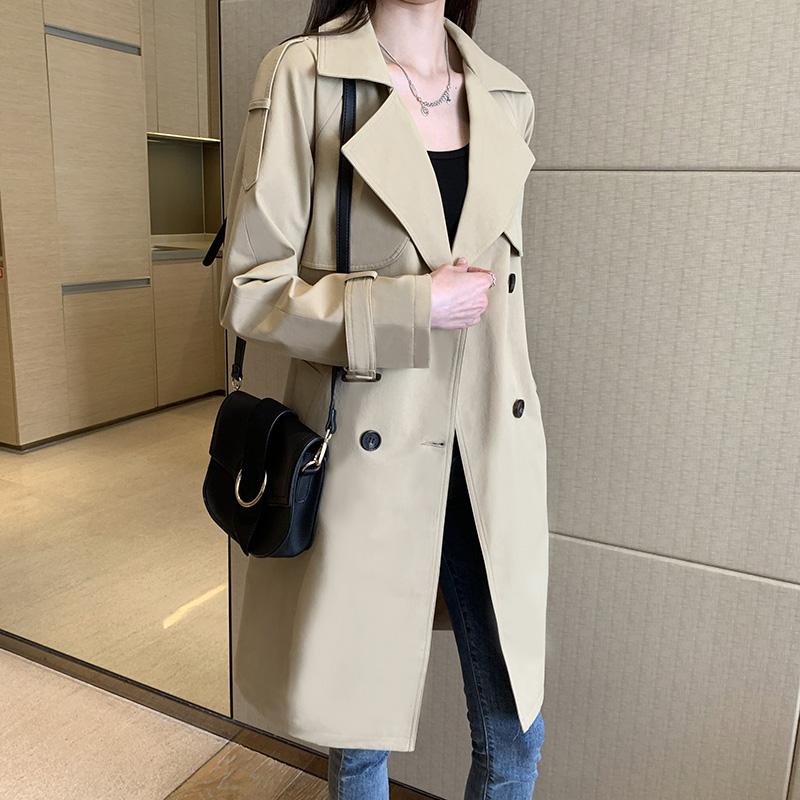 赫本风风衣女中长款小个子2020春秋季流行新款韩版宽松大衣女外套主图