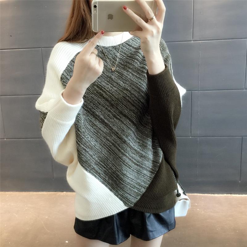 韩版宽松圆领针织衫学生打底衫