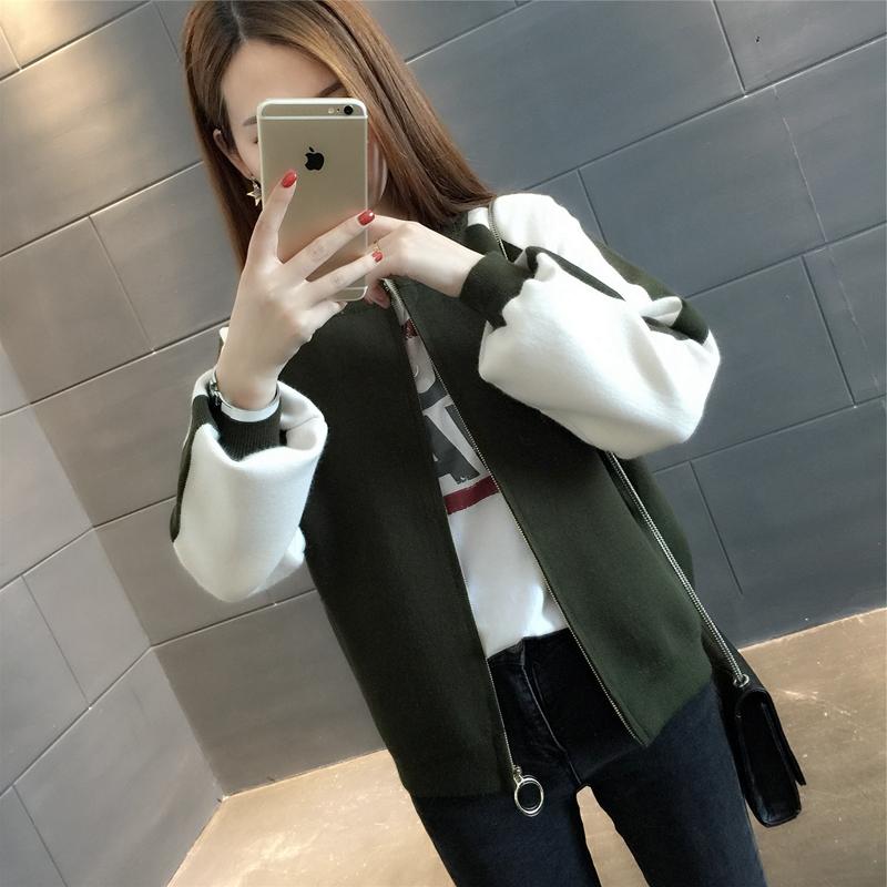 针织毛衣短外套女开衫2019春秋装新款韩版宽松棒球服学生短外套潮