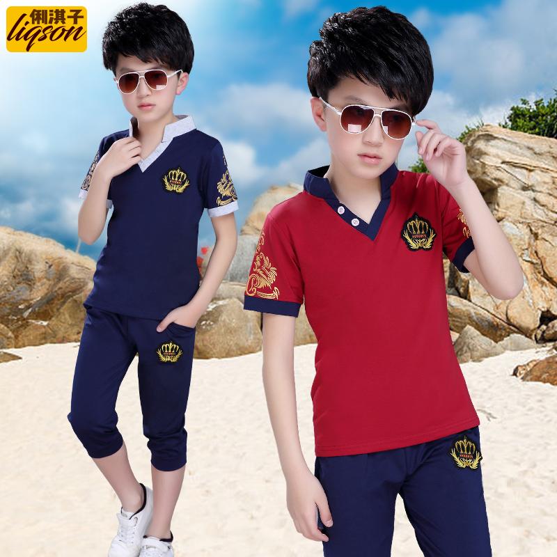 童裝男童夏裝套裝2019新款兒童夏季短袖中大童韓版兩件套男孩潮衣