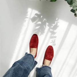 早春新品韩版东大门同步单鞋女鞋绒面材质经典复古深口平底鞋便鞋