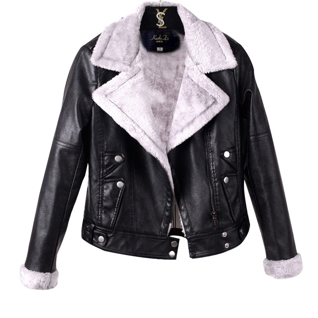 Leather women's short Korean version slim and plush small coat Pu motorcycle black leather jacket spring and autumn winter