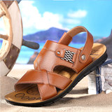2019 new summer men's sandals leather casual shoes beach shoes youth leather non-slip summer leather sandals and slippers