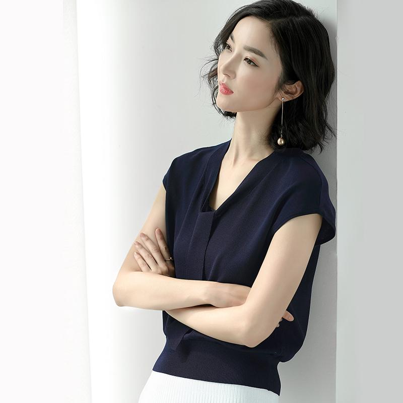 夏季冰丝针织衫女套头宽松短袖T恤薄款韩版V领短款修身飘带上衣