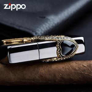 正品zippo打火机黑冰爱神之翼镶钻墨宝石正版爱情之翼送男友zppo