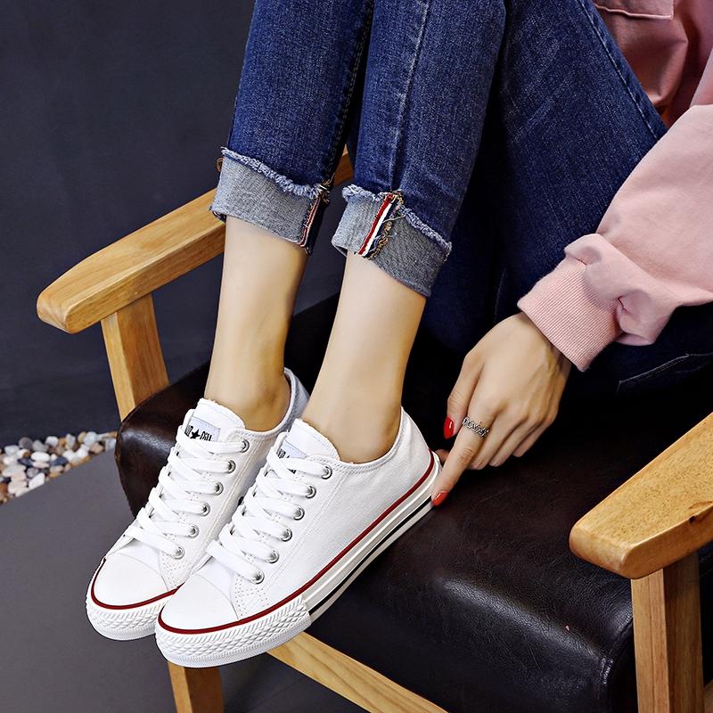 新款韩版潮百搭小白鞋女春夏低帮单鞋休闲板鞋男 2018 环球帆布鞋女