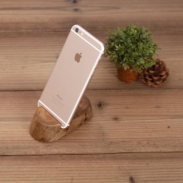 懶人實木質手機支架辦公桌面iPhone底座創意通用名片夾平板支架