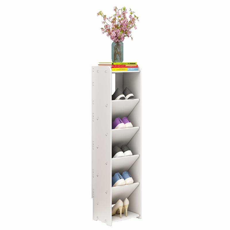 家用多層迷你小鞋架經濟型多層簡易拆裝白色樓道窄鞋柜門口省空間