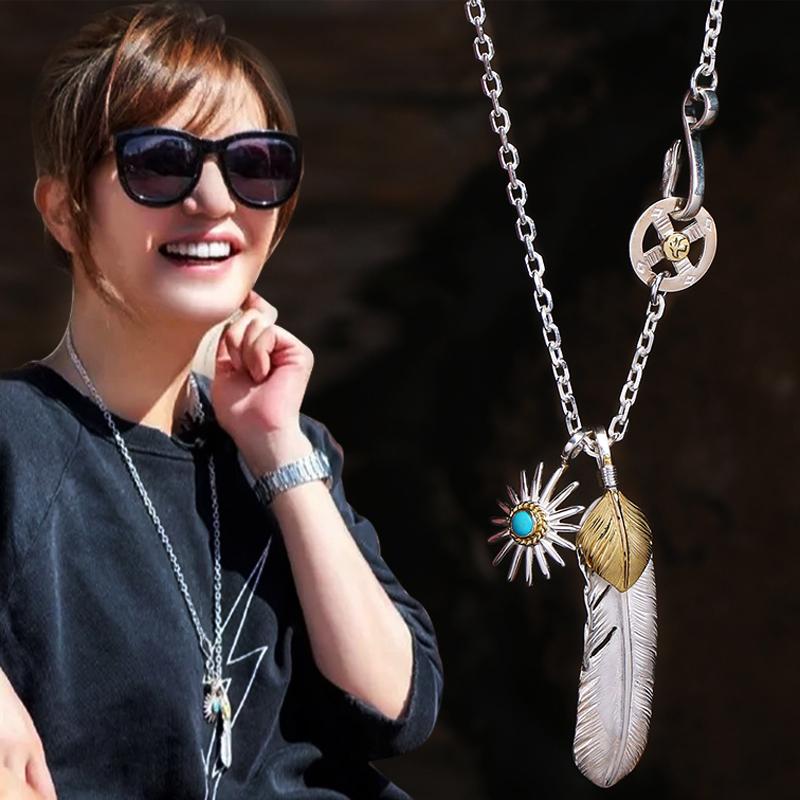 天使之愿高桥吾郎中餐厅 赵薇同款S925银上铜羽毛项链毛衣链吊坠