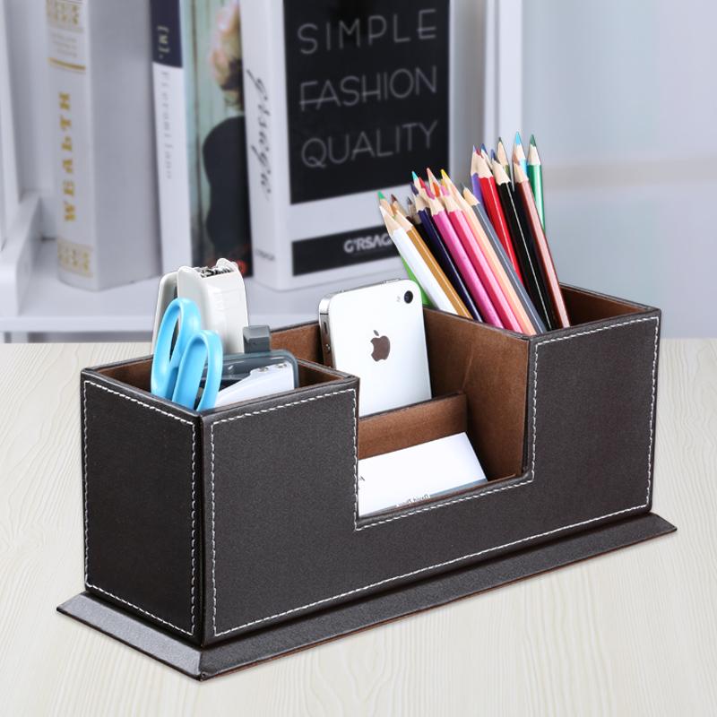 多功能皮革笔筒创意时尚韩国办公桌文具收纳盒整理盒商务名片摆件