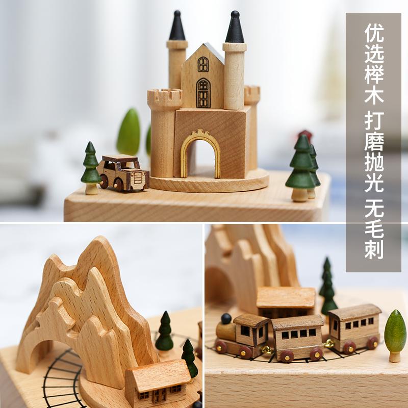 八音盒木质旋转木马木制音乐盒天空之城生日礼物儿童女生圣诞礼物