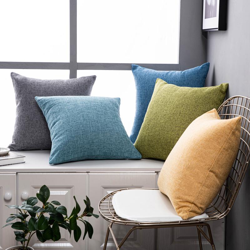 纯色亚麻沙发抱枕靠垫客厅靠枕床头大号靠背抱枕套不含芯棉麻夏季