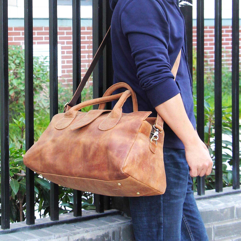 复古疯马皮男女士旅行包牛皮手提单肩行李袋真皮短途出差旅游男包