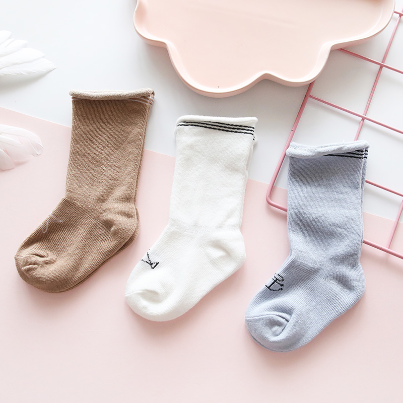 新生婴儿纯棉袜子男女童儿童春秋季初生宝宝0-1岁秋冬3月可爱中筒
