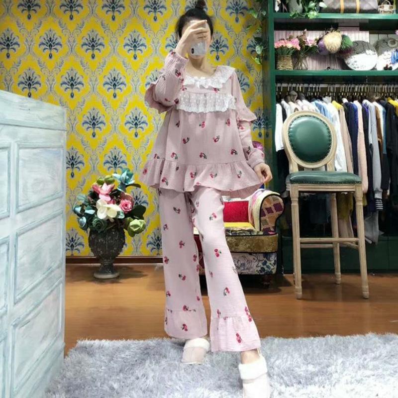 睡衣女春秋季长袖纯棉亲子母女家居服韩版公主风刺绣樱桃甜美套装