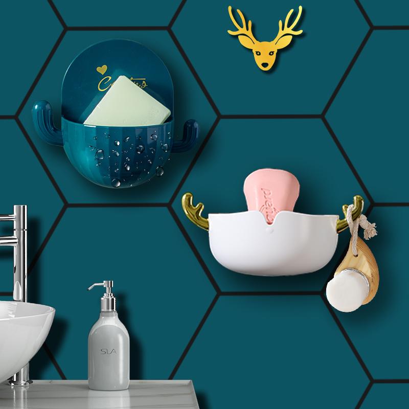 家用肥皂盒沥水卫生间免打孔吸盘壁挂式创意个性可爱香皂盒置物架