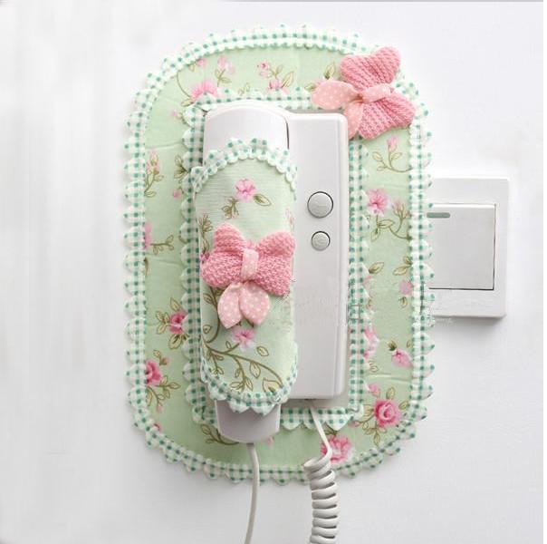 门铃套包邮蕾丝布艺楼宇对讲室内机套子可视电话挂机防尘罩开关贴