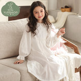 Cloud think clothes girls nightdress spring and autumn cotton long-sleeved cotton silk big boy princess court home clothes mother and daughter family