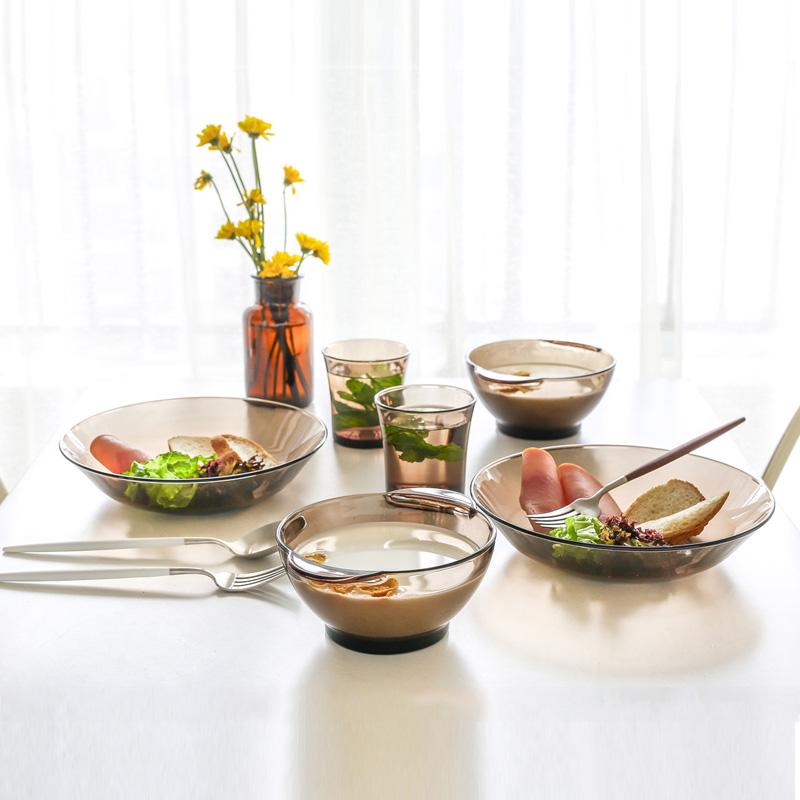 餐具套裝4件 法國進口DURALEX/多萊斯微波爐鋼化玻璃碗碟盤套裝