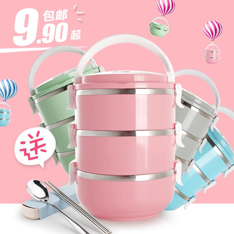 日式不鏽鋼多層保溫桶飯盒大容量分格學生3便當盒1兒童2雙層4餐盒