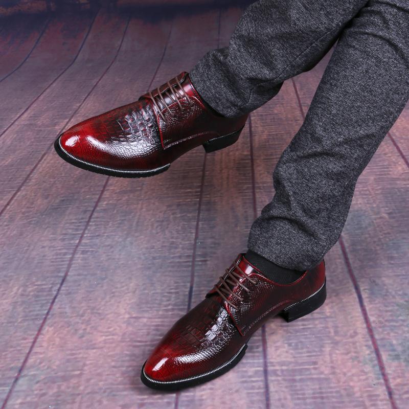 夏季鱷魚紋皮鞋男商務真皮尖頭英倫韓版內增高新郎結婚禮西裝鞋潮