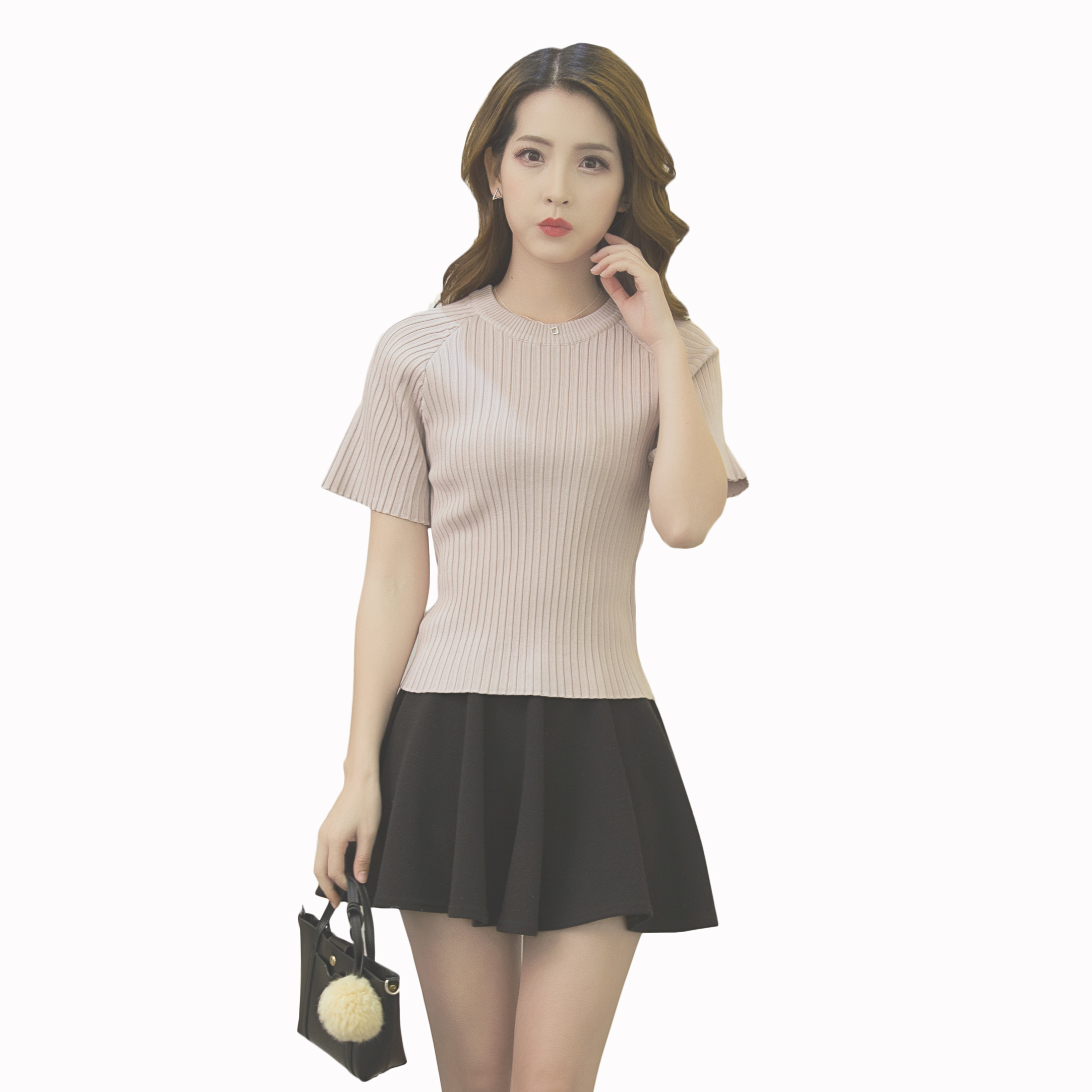2017新款韩版短袖冰丝针织衫女套头短款圆领打底T恤修身上衣夏薄