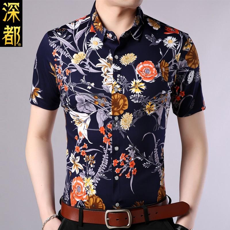2019夏季男士丝光纯棉短袖衬衫新款中青年商务休闲宽松印花衬衣潮