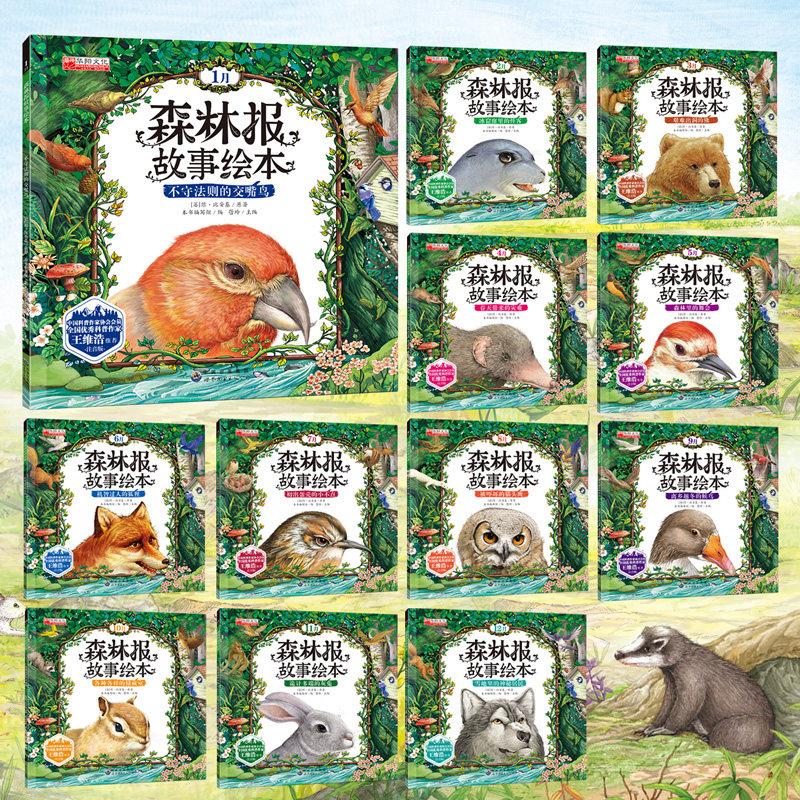 正版森林报故事绘本书全套12册儿童书籍读物小学生儿童文学一年级二年级三年级课外书必读注音版书籍适合3-4-5-6-7-8-9-10岁低年级
