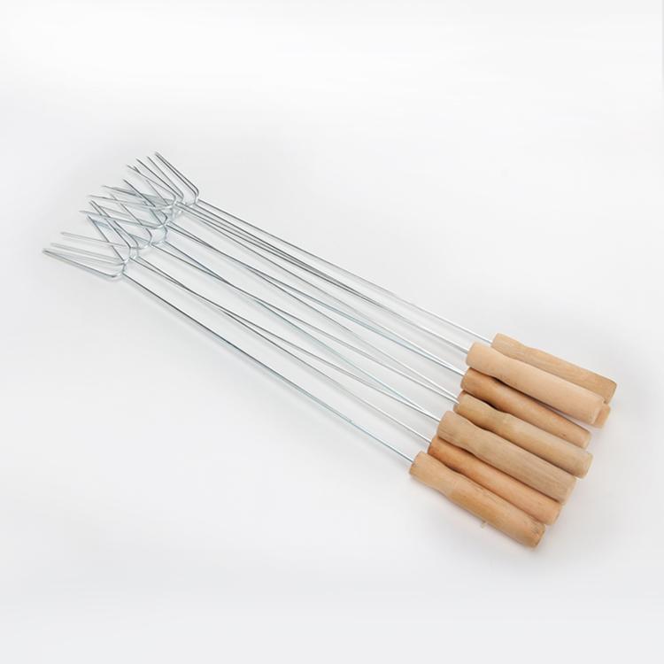 不锈钢  型木柄叉鸡翅叉火腿叉子烧烤叉 U 烧烤工具烧烤签子 配件
