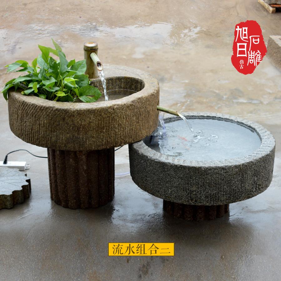 石槽水槽鱼缸石盆青石花盆庭院阳台水景槽老石槽子室内流水旧石器