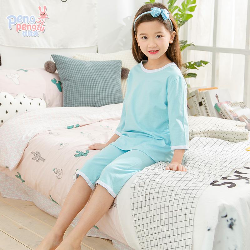 儿童睡衣夏季薄款套装男童女童纯棉休闲家居服宝宝全棉空调服夏装