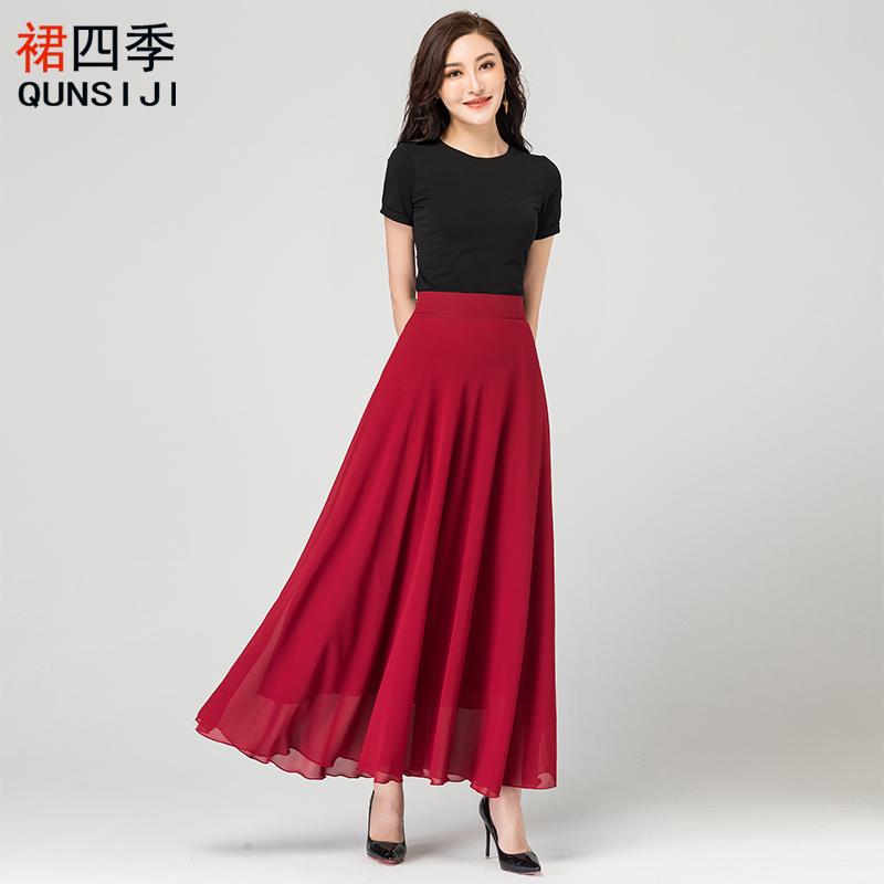夏季新款百搭红色雪纺半身裙女复古高腰A字大摆长裙大码跳舞裙子主图