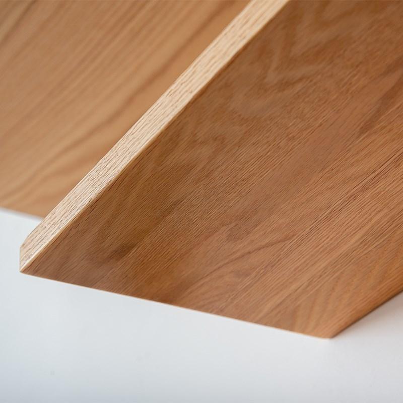 实木墙壁置物架一字隔板北欧定制搁板客餐厅墙上白橡木装饰架书架