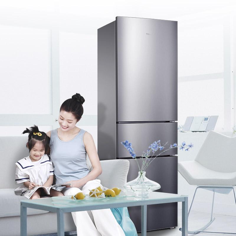 升家用小型三开门式双门节能省电冷藏冷冻 210 三门冰箱风冷无霜 tcl