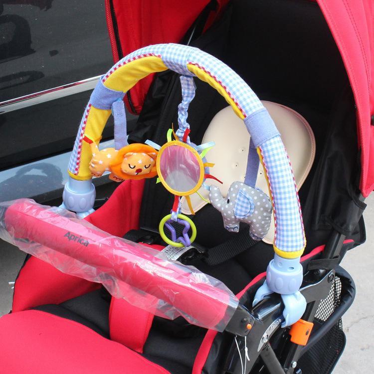 婴儿宝宝床推车装饰夹挂件摇铃音乐婴幼儿床上挂饰吊铃支架式玩具
